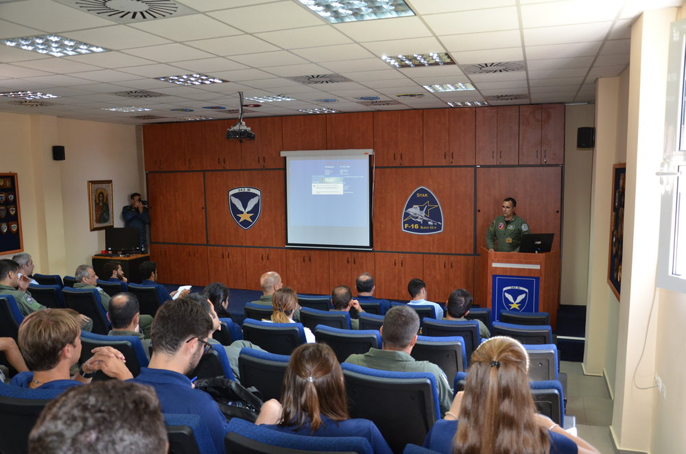 Colonel Ioannis Birbilis, 115th Combat Wing, Hellenic Air Force briefs the students on the 115th Combat Wing's constant defense of Greek airspace from Turkish fighter jets.