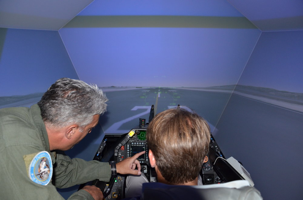 Theofilos Koulianos receiving flight simulation training at the 115th Combat Wing.