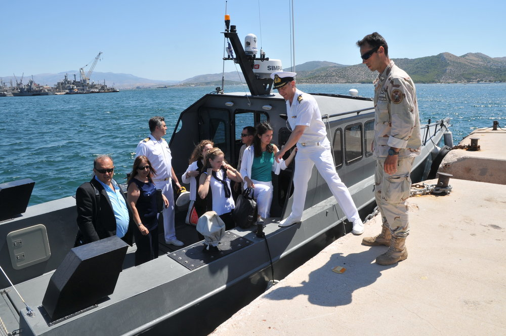 Students de-board a speed boat that provided a maritime tour of Salamis Naval Base.