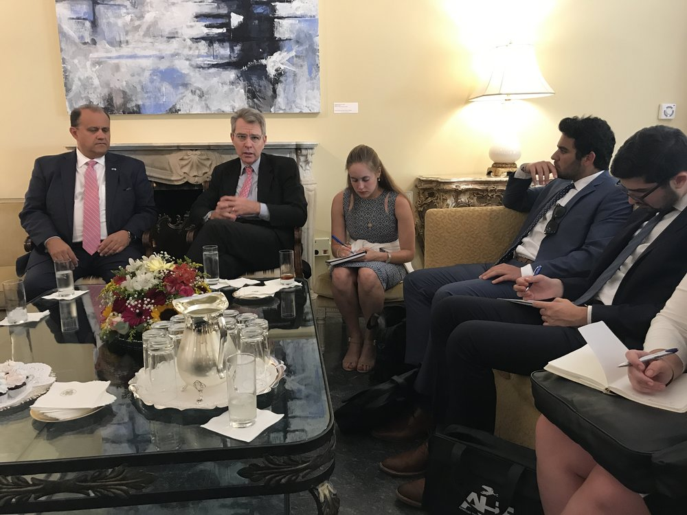 U.S. Ambassador to Greece, Geoffrey Pyatt welcomes students to his residence for a briefing on U.S. interests and initiatives in Greece.