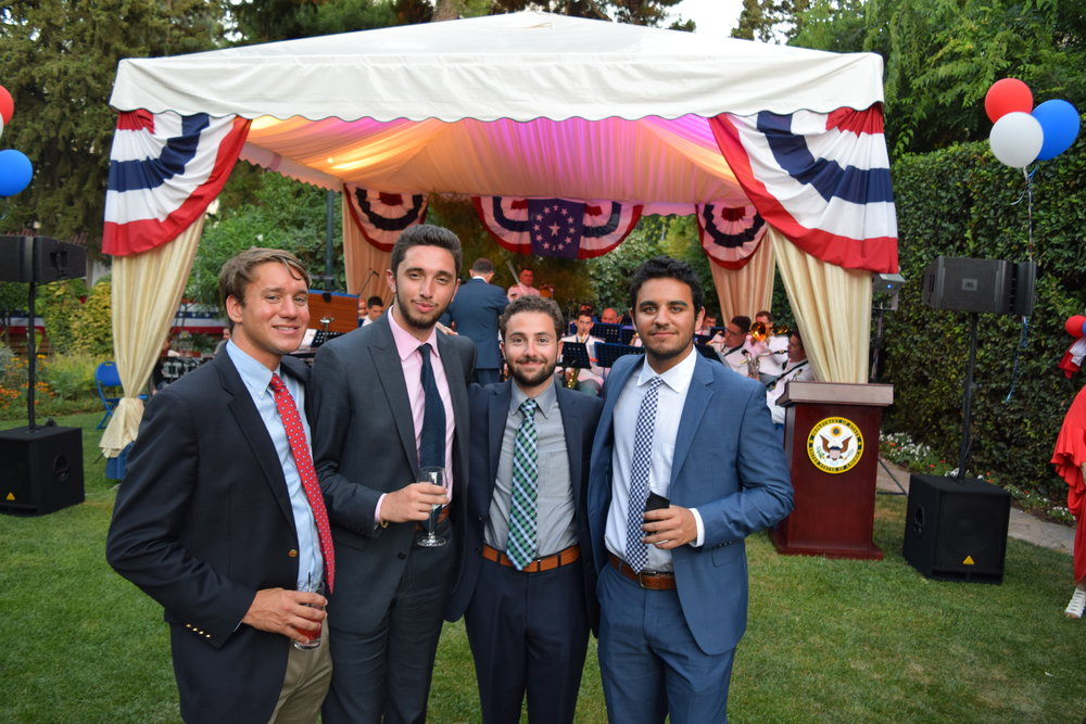 Theo Koulianos, Nico Priskos, Christopher Coombs, and Stavros Piperis at the U.S. Embassy July 4th Reception in Athens.
