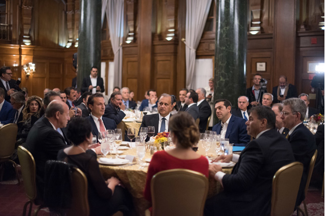 Dignitaries seated with AHI President Larigakis, Prime Minister Tsipras, and Supreme President Hollister included: Libra Group Chairman & CEO George M. Logothetis (at left) and U.S. Ambassador to Greece Geoffrey Pyatt (at right).