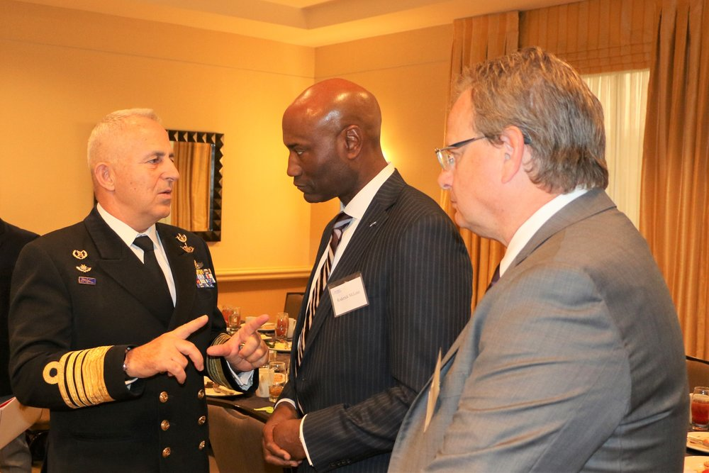 "Vice President & General Manager of the F-16/F-22 Integrated Fighter Group at Lockheed Martin Aeronautics, Mr. Roderick ""Rod"" McLean speaks with Admiral Apostolakis."