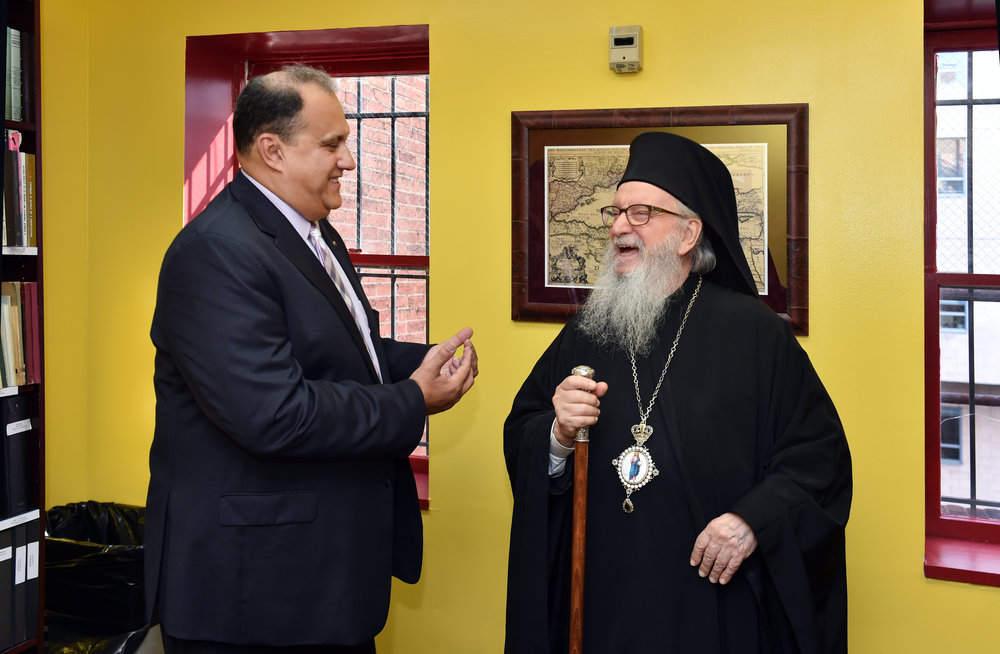 AHI President Nick Larigakis and His Eminence Archbishop Demetrios of America.