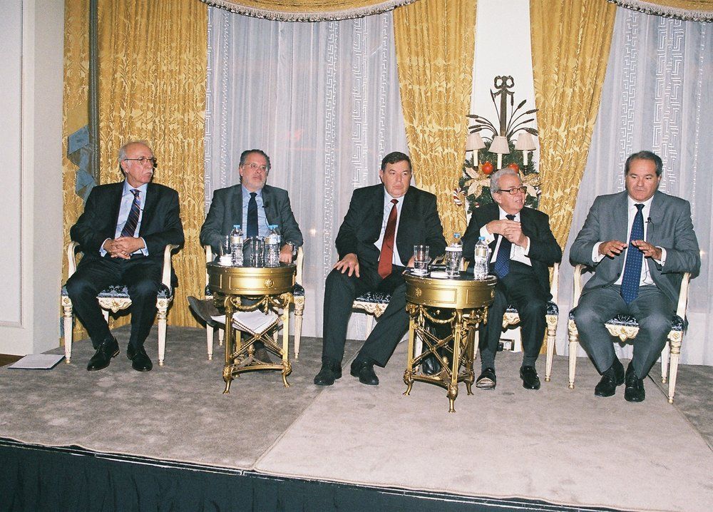 Panel from left to right: Deputy Minister Dimitris Vitsas, George S. Koumoutsakos, General Fragoulis Fragos, George Economou, and Athanasios Ellis, Moderator.