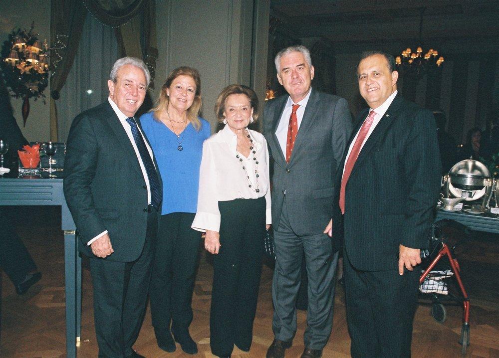 (L-R) George Economou; unknown; Mrs. Economou; Vasilis Kyriazis, Retired Vice Admiral; Nick Larigakis.