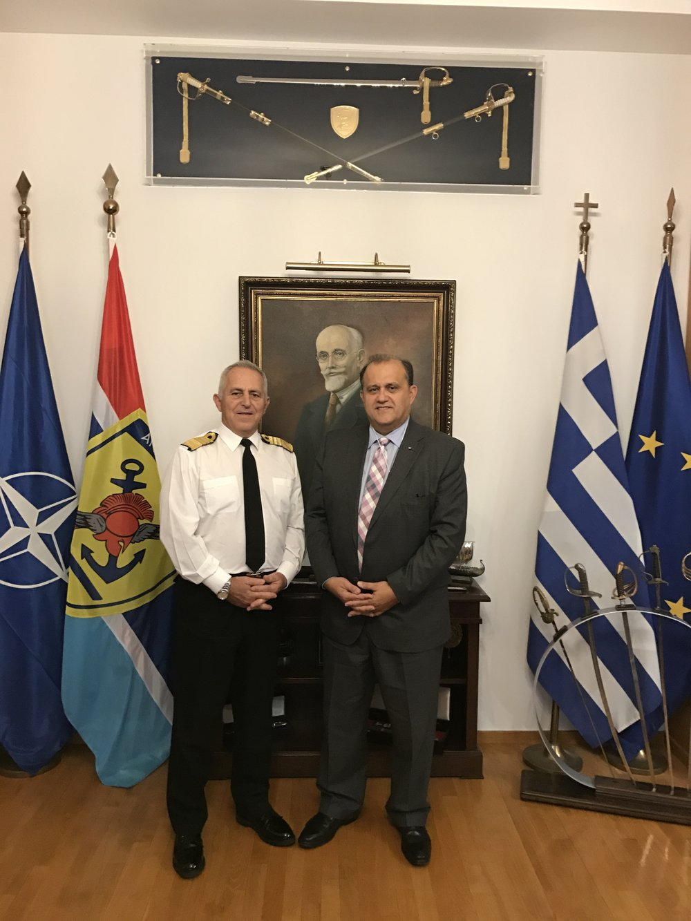 Admiral Evangelos Apostolakis, Chief of the Hellenic National Defence General Staff hosts Nick Larigakis for a meeting at the Ministry of Defense.