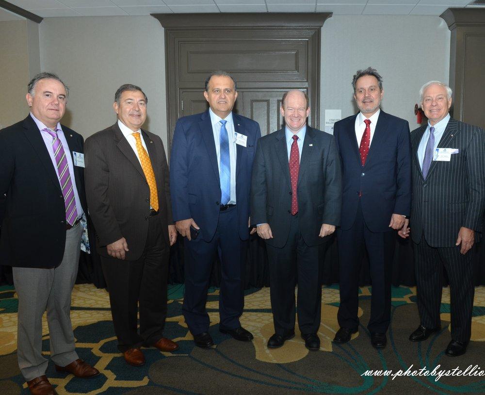 (L-R) Dimitri Halakos, Dr. George Tsetsekos, Nick Larigakis, Senator Chris Coons, Ambassador Haris Lalacos, Nick Chimicles.