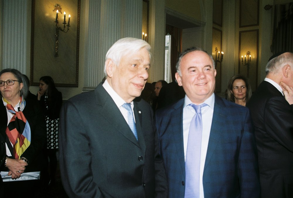 President Pavlopoulos with AHI Board Member Demitri Halakos.