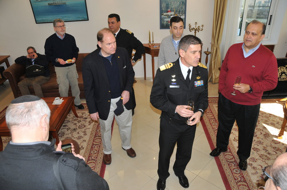 Vice Admiral Pavlopoulos hosts a reception at his residence at Salamis Naval Base.