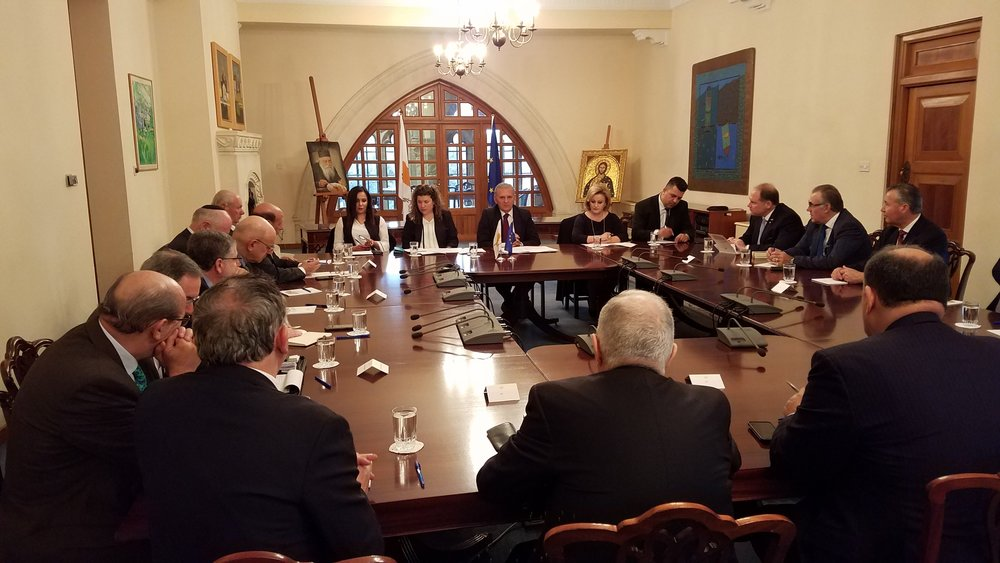 Delegation meets in the cabinet room of the Cypriot Presidential Mansion.