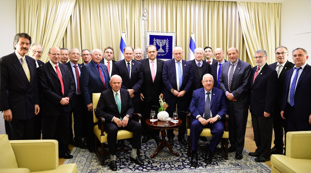Delegation with Israeli President Reuven Rivlin (seated on the right).