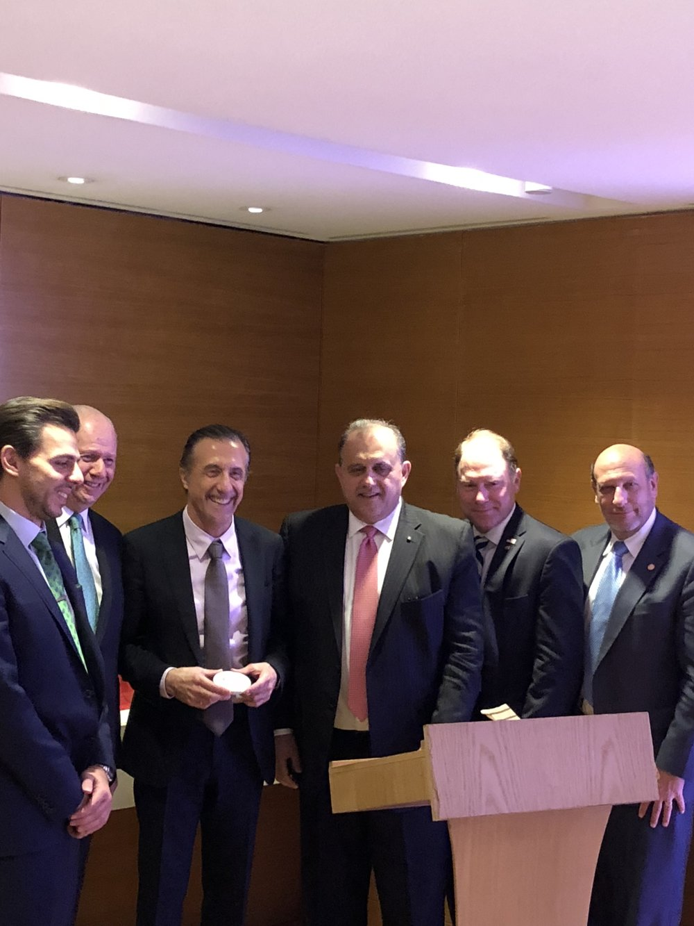 Delegation heads presenting Hellenic Entrepreneurs Association (HEA) President Vasilis Apostopoulos and HEA Vice President Christian Hadjiminas with a momento.