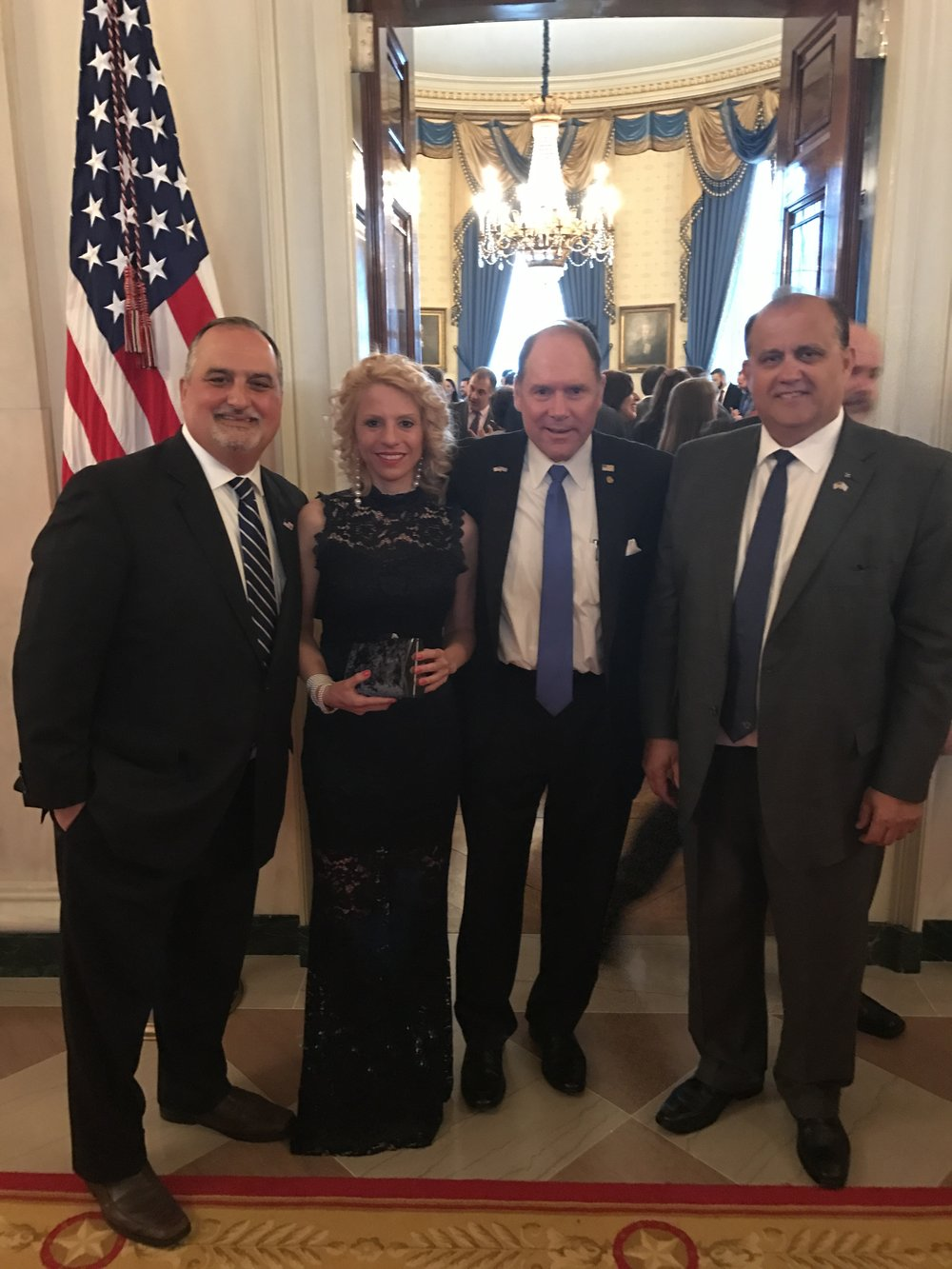 (L-R) Michael Karloutsos, Deputy Chief of Protocol, U.S. Department of State; Athina Balta, Carl R. Hollister, Supreme President, Order of AHEPA; Nick Larigakis.