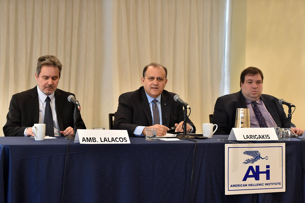 Panelist (L-R): Ambassador Haris Lalacos, Greek Ambassador to the U.S.; Nick Larigakis, President of AHI; Charge d'affaires Andreas Nikolaides, Embassy of the Republic of Cyprus to the U.S.