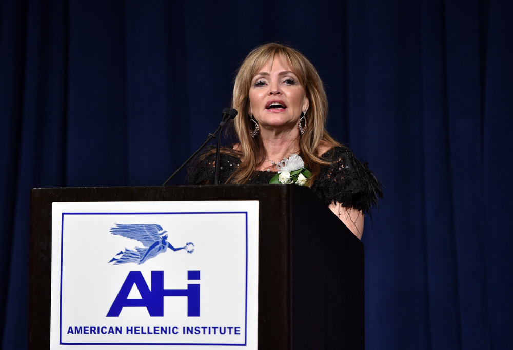 Nancy Papaioannou, President of Atlantic Bank of New York, offers acceptance remarks.