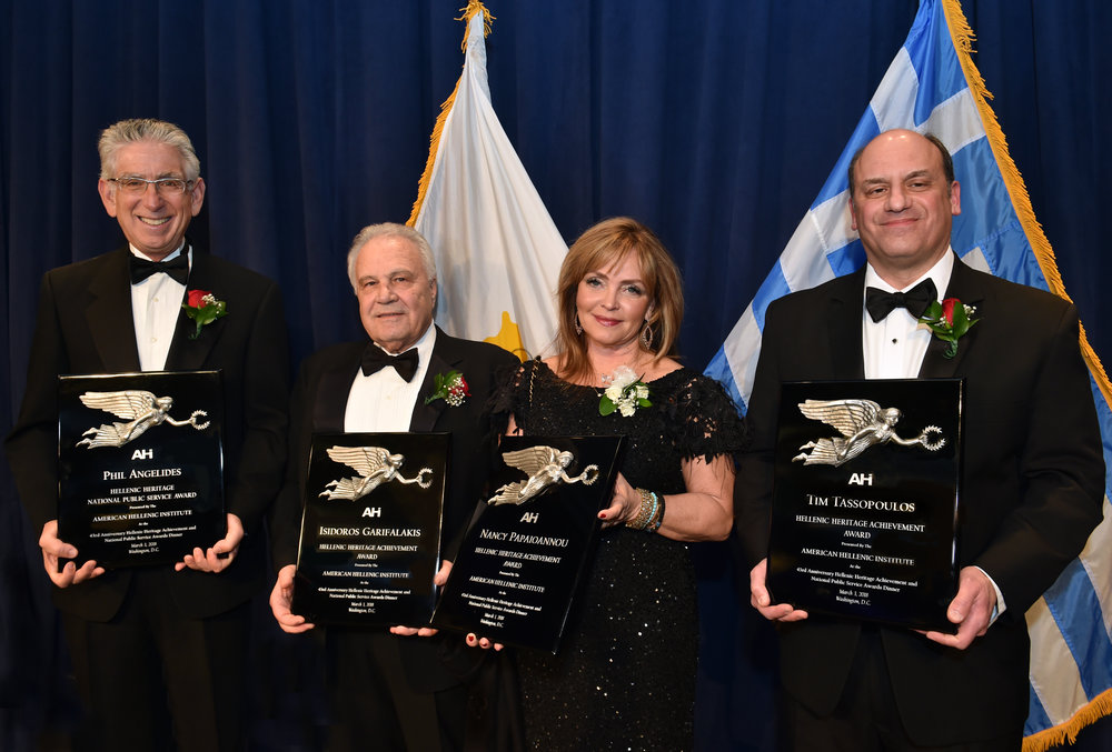 Honorees (L-R): Phil Angelides, Isidoros Garifalakis, Nancy Papaioannou, Tim Tassopoulos.