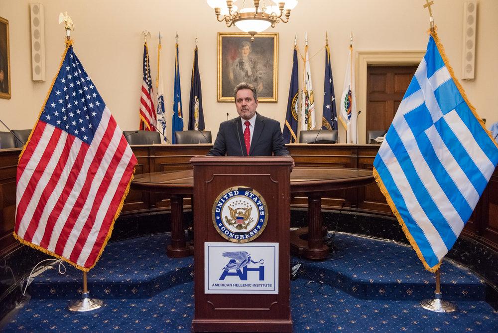 Ambassador Haris Lalacos, Greek Ambassador to the United States, offers remarks.
