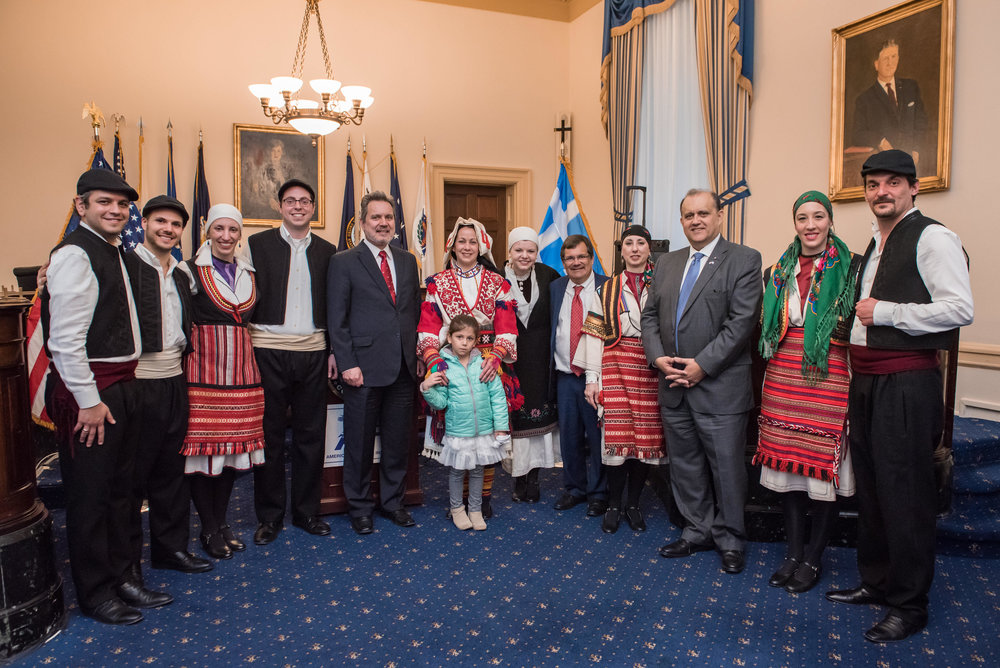 Amb. Haris Lalacos, Rep. Gus Bilirakis, and Nick Larigakis with the Byzantio Greek Dance and Cultural Arts Program.