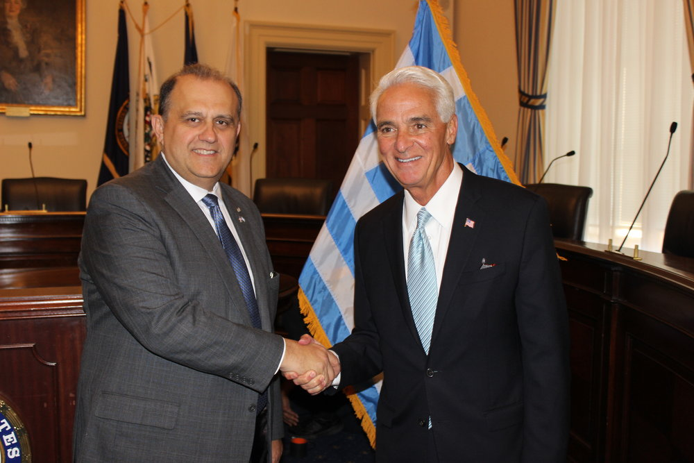 AHI President Nick Larigakis and Rep. Charlie Crist (D-FL).