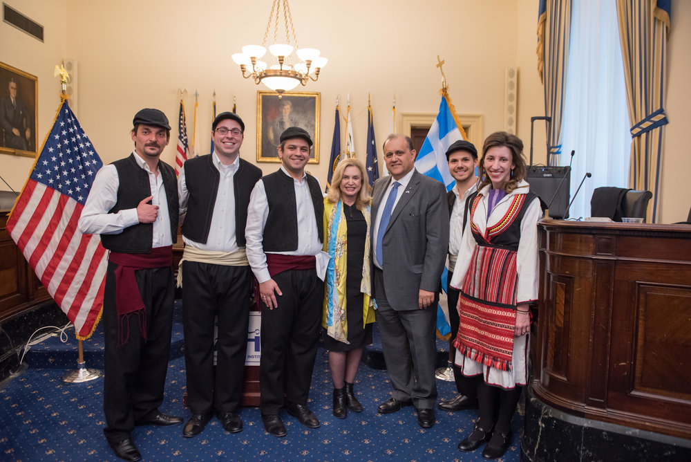 Rep. Carolyn Maloney and Nick Larigakis with the Byzantio Greek Dance and Cultural Arts Program.