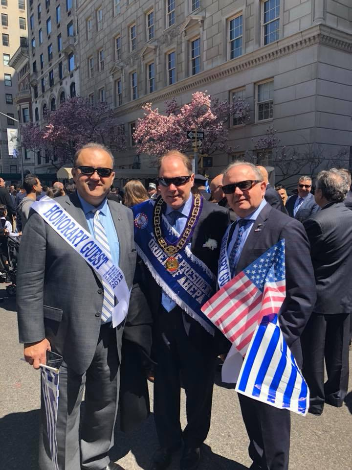 Nick Larigakis, President of AHI; Carl Hollister, Supreme President of the Order of AHEPA; Demitrios Halakos, AHI Board Member.