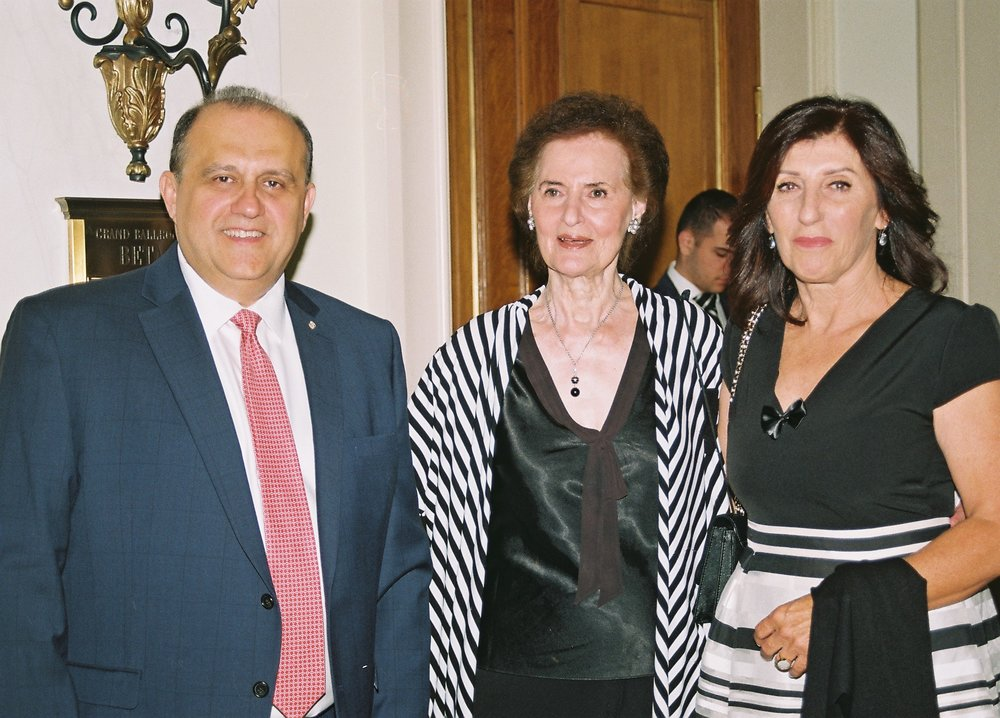 Nick Larigakis, Katerina Papathanassiou, and Mrs. Apostolakis.