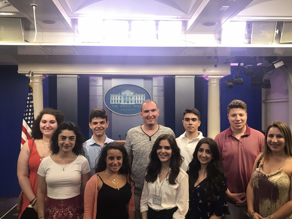 White House Briefing Room, part of the students West Wing tour of the White House complex.