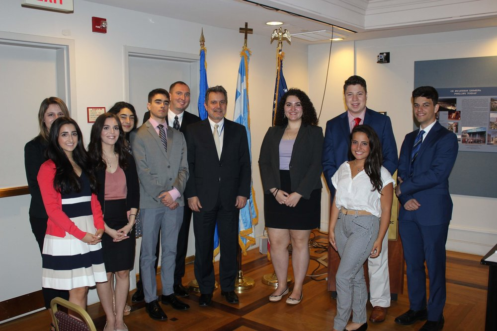 AHI students with Haris Lalacos, Ambassador of Greece to the United States.