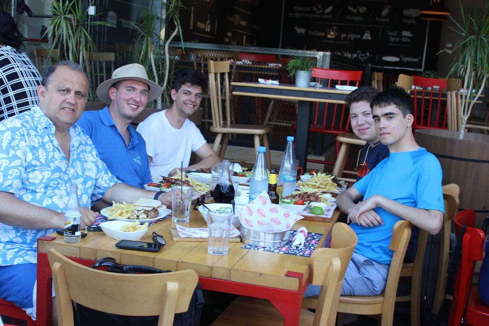 Student trip participants enjoying dinner in Larnaca.