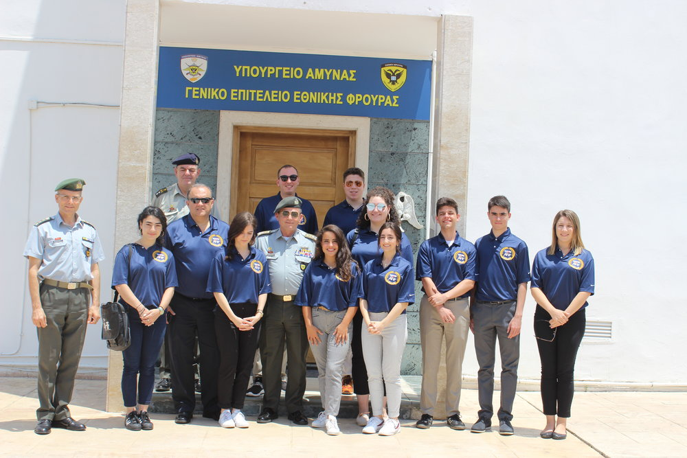 Lt. General Ilias Leontaris, Chief of the Cypriot National Guard with students outside of the Cypriot National Guard Headquarters.