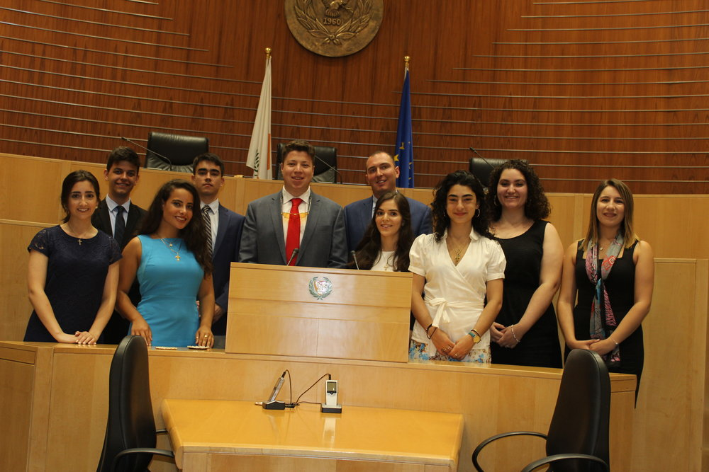 Students visit the general assembly of the Cypriot House of Representatives.