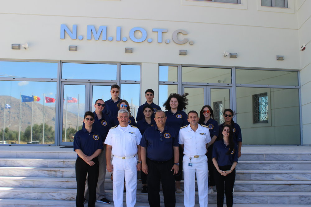 Commander of the NATO Maritime Interdiction Operations Training Center (NMIOTC), Commodore Stelios Kostalas (lower left).