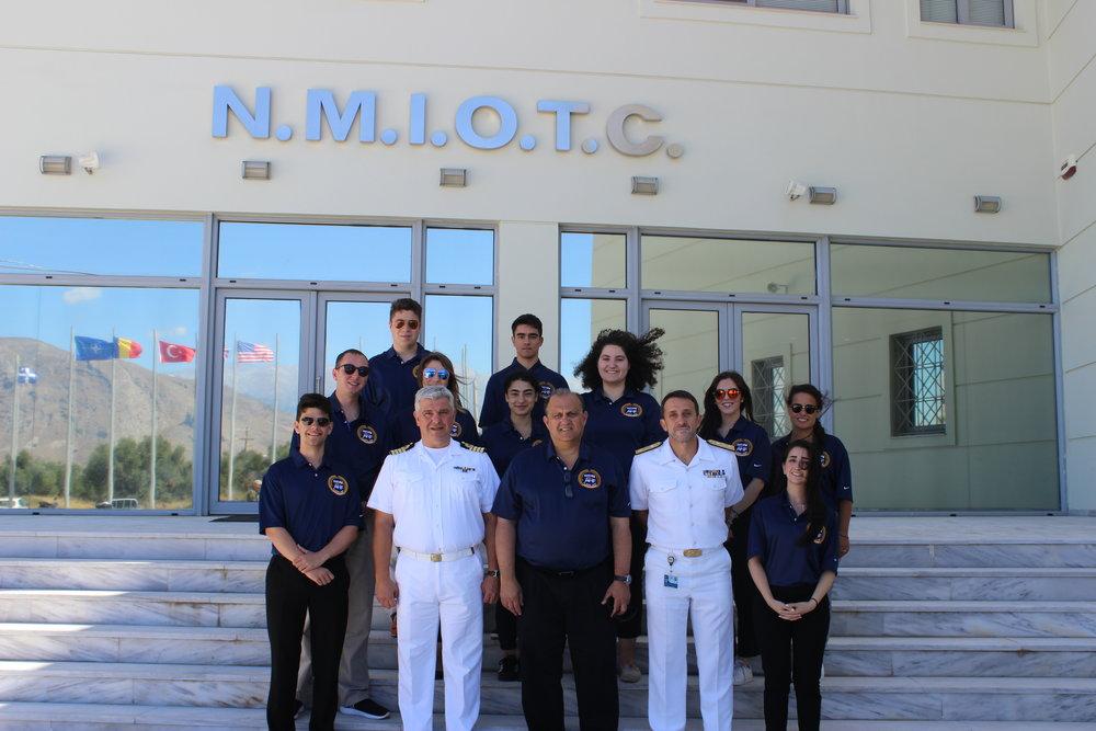 Commander of the NATO Maritime Interdiction Operations Training Center (NMIOTC), Commodore Stelios Kostalas (lower left).