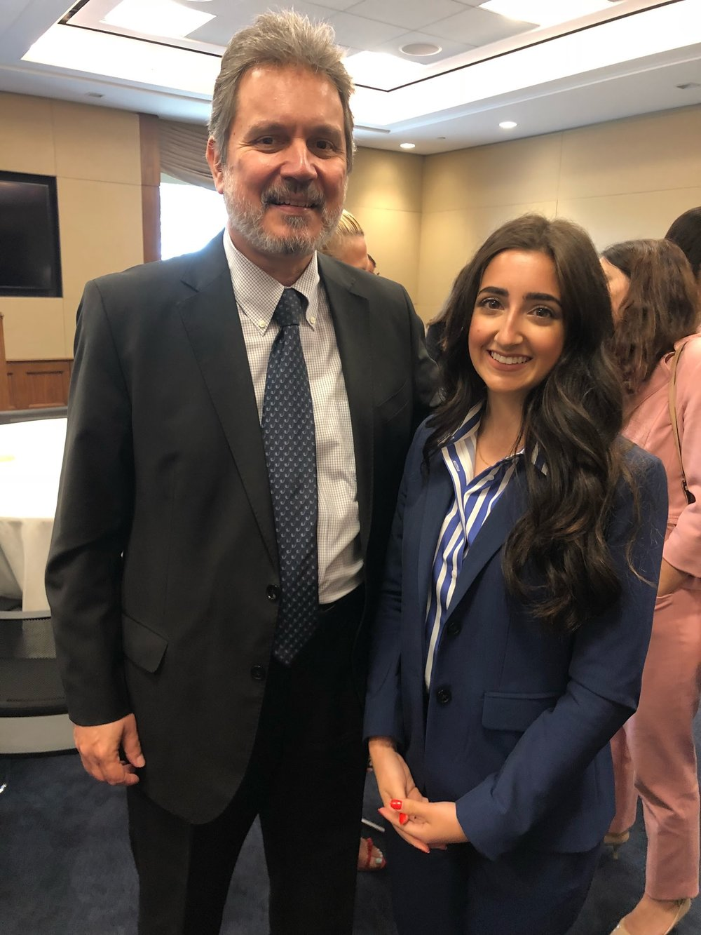 Alexis meeting Ambassador Haris Lalacos at AHI's 44th Anniversary of the Illegal Turkish Invasion of Cyprus event on Capitol Hill.
