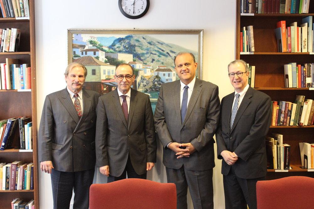 (L-R) Nick Karambelas, Ambassador Marios Lyssiotis, Nick Larigakis, James Marketos.