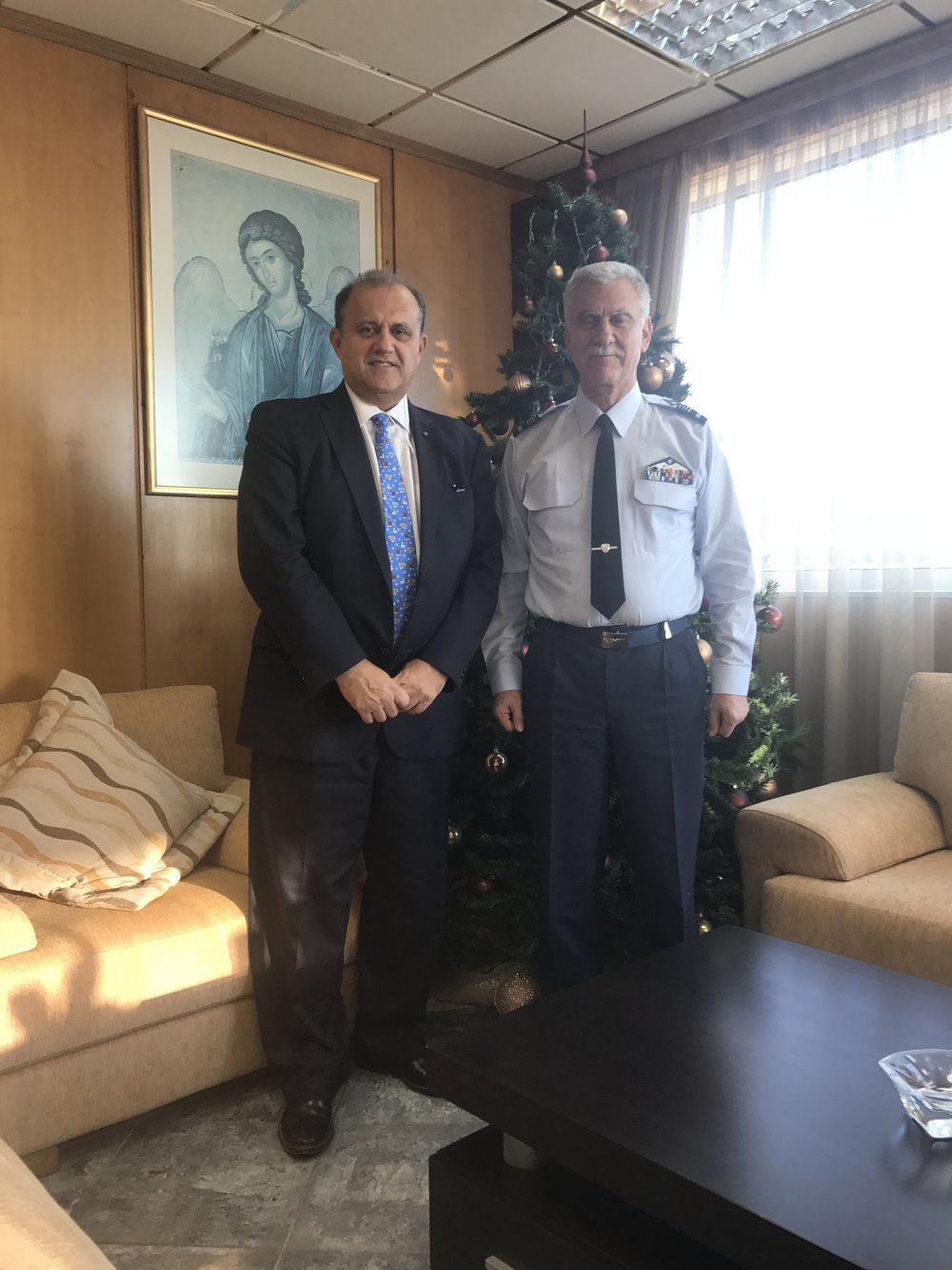 President Larigakis With Lt. Gen. Christos Christodoulou, chief, Hellenic Air Force General Staff