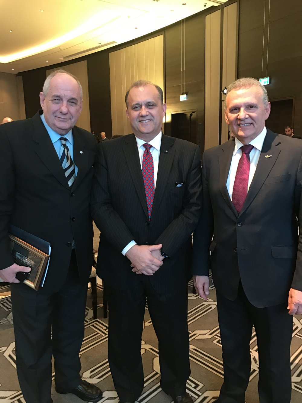 Nick Larigakis (C) With Greek Deputy Minister Of Foreign Affairs, Terens Quick (L), and Cypriot Presidential Commissioner Photis Photiou (R)