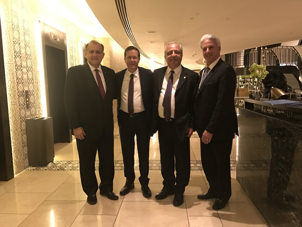 (L-R) Nick Larigakis, Isaac Herzog, Chairman of the Executive, The Jewish Agency For Israel, AHEPA Supreme Governor Phanos Pitiris, Michael Siegal, Chairman of the Board, The Jewish Agency For Israel