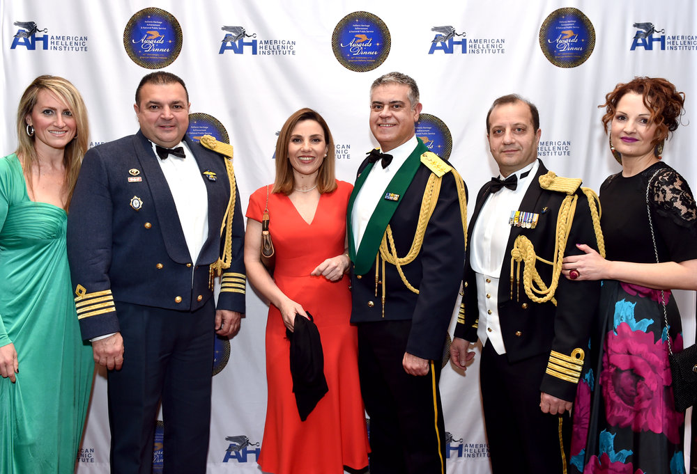 Greek Defense Attache Col. Vasileios Lampropoulos with his wife Kyriaki, Naval Attache Cpt Charalampos Peglidis with his wife Lithari, Air Attache Col. Stefanos Ampouleris with his wife Yota.