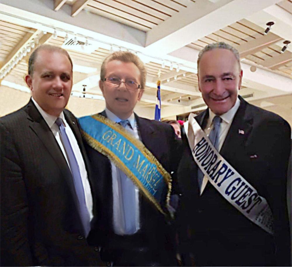 (L-R) President Nick Larigakis, Grand Marshal George Marcus, & Senate Minority Leader Chuck Schumer, (D-NY)