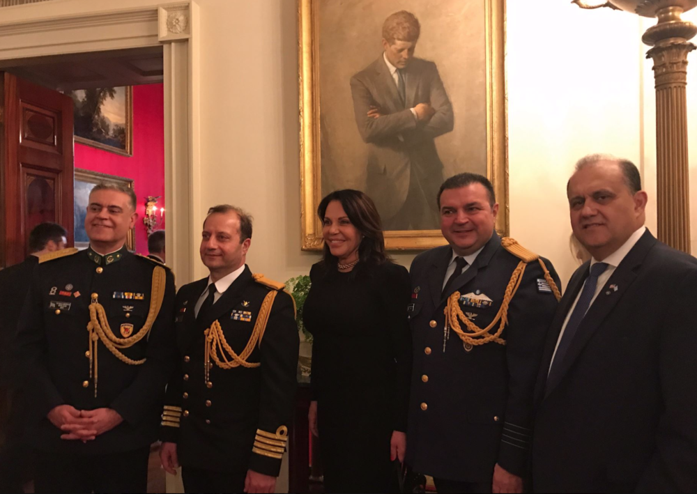 AHI President Nick Larigakis with Katerina Panagopoulos, Special Advisor to the Prime Minister of Greece for Hellenic Diaspora, Greek Defense Attache Col. Vasileios Lampropoulos, Naval Attache Cpt Charalampos Peglidis, Air Attache Col. Stefanos Ampouleris.