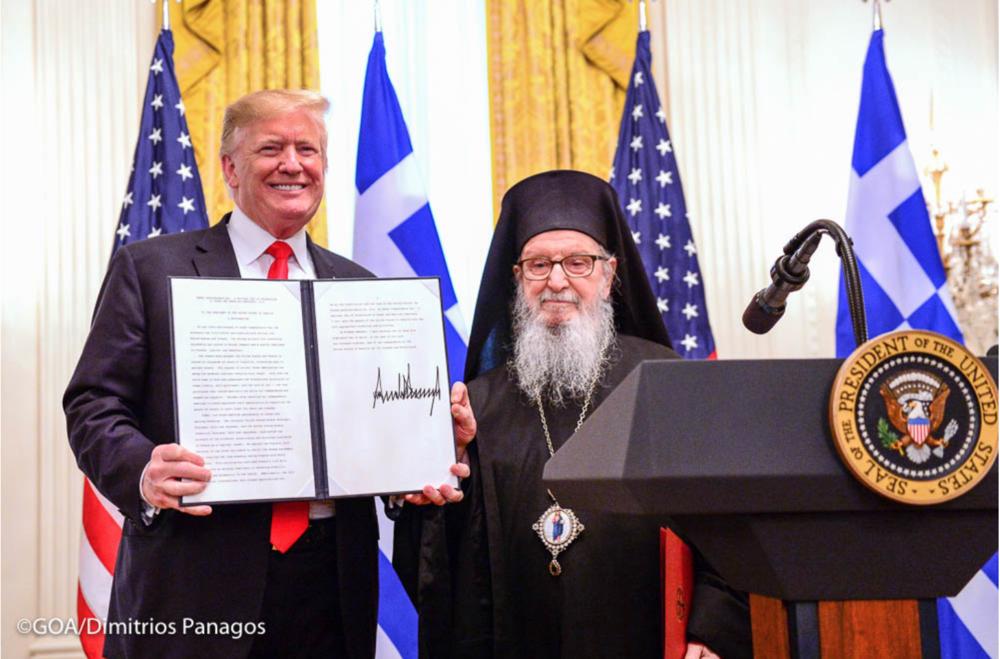 President Donald Trump (L) With Archbishop Demetrios, Geron of America