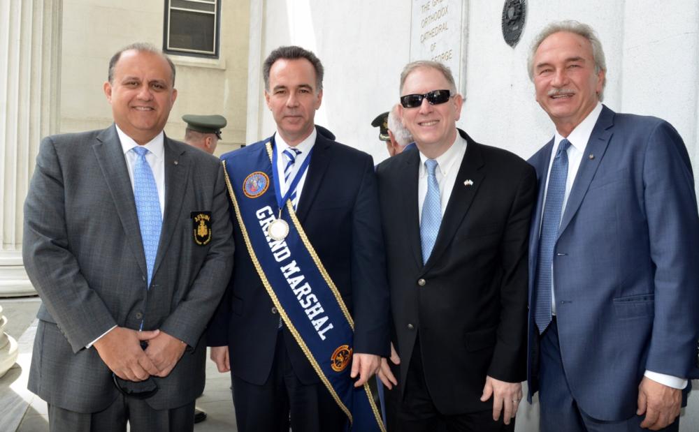 (L-R) Nick Larigakis, NY Consul General of Greece, Konstantinos Koutras, AHI members, Dr. Ilia Iliadis and Demos Vasiliou outside St. George Cathedral in Philadelphia