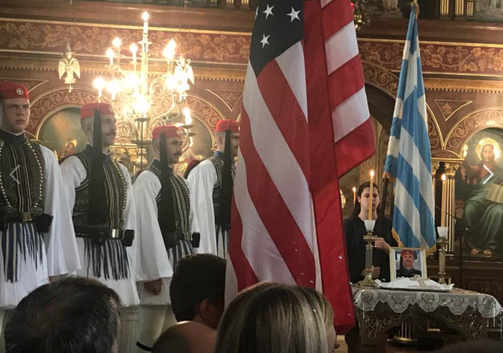 The Evzone Greek Presidential Guard during a memorial service at the St. George Cathedral of Philadelphia