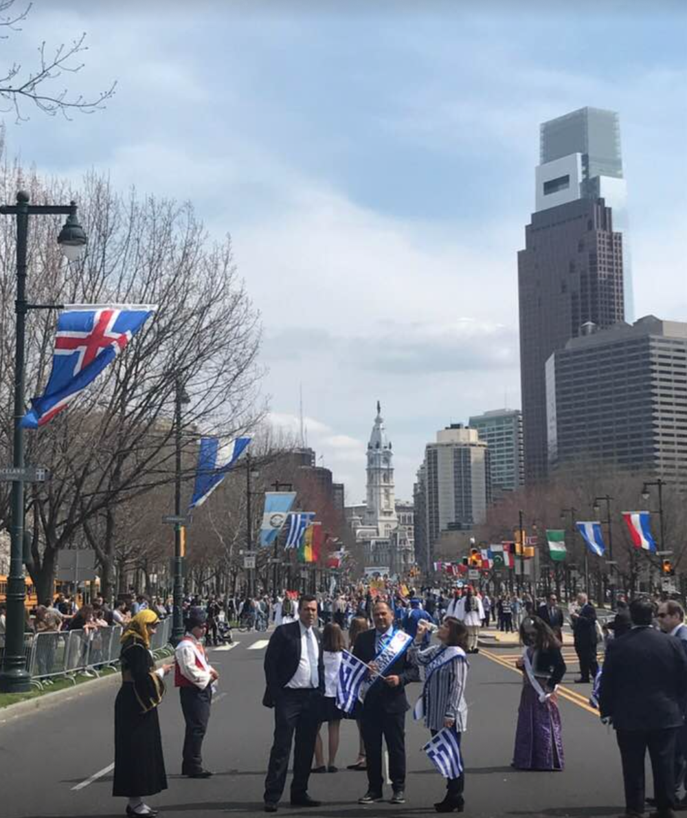 Supreme President of AHEPA George Lucas in a crowd shot of the Parade