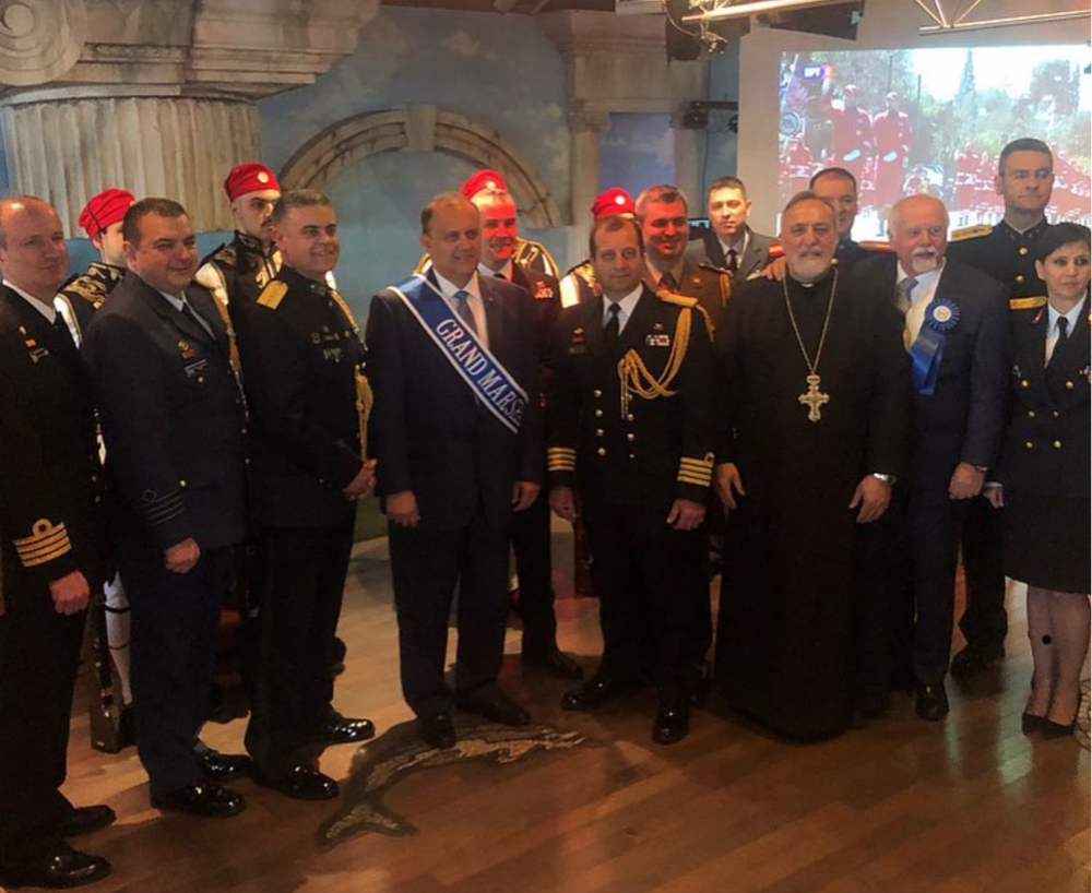Grand Marshal Nick Larigakis with attaches of the Embassy of Greece