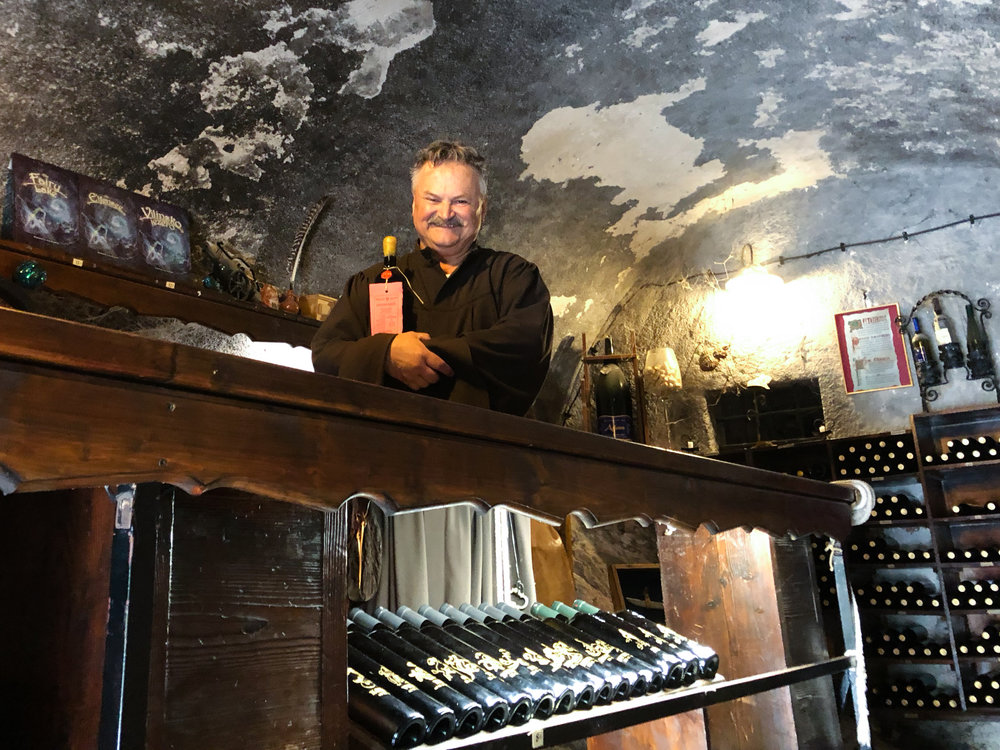 The winemaking monk at Bled Castle (and perfect example of the friendly Slovenians).