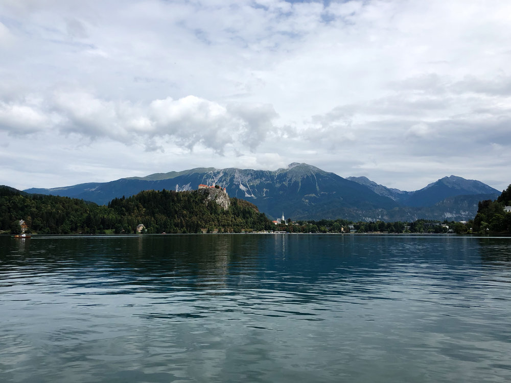 View of the castle from Lake Bled