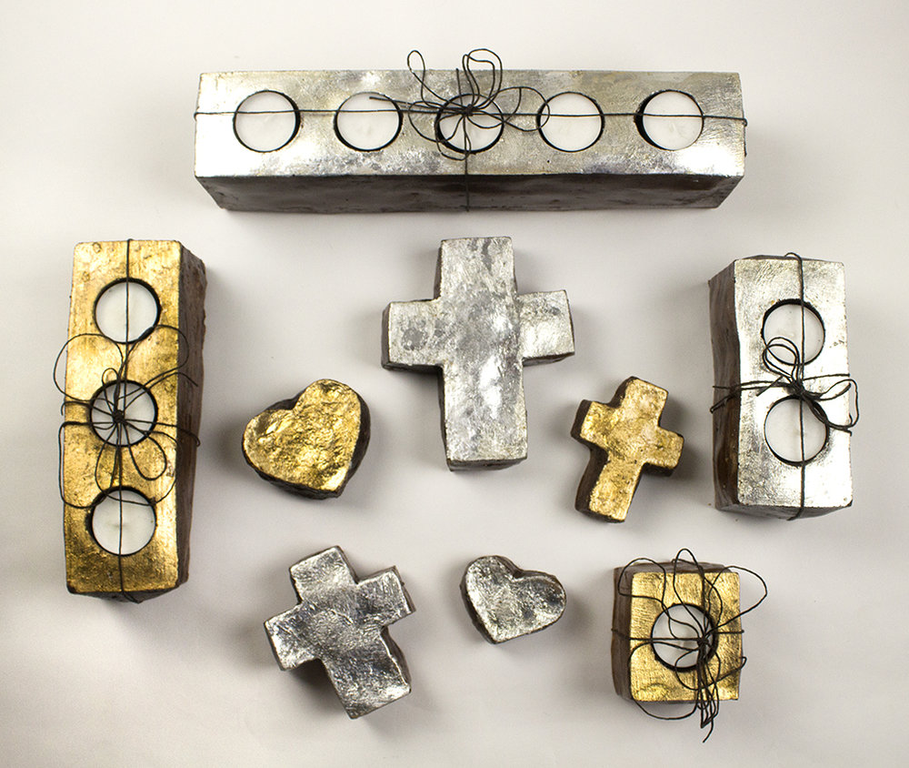 Crosses, hearts, and tea light holders by Barbara Biel